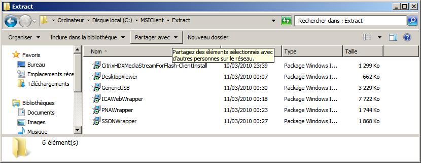 Répertoire avec les MSI du client XenApp