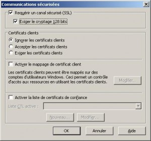 iis 6.0 Gestionnaire Services Internet Forcer SSL